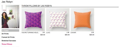Society6 throw pillow covers by JaxRobyn