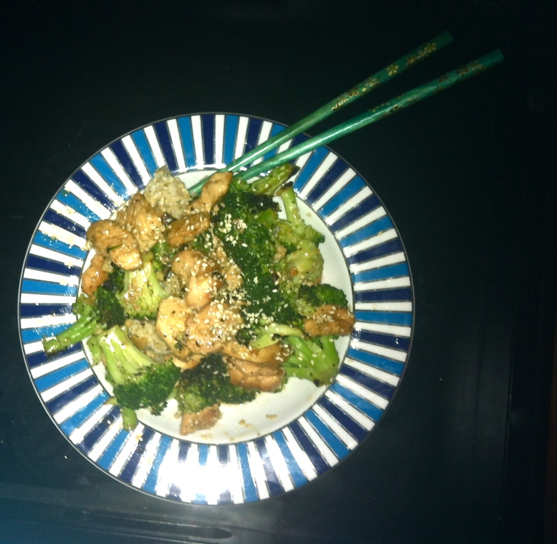 sesame chicken with steamed broccoli and 3-minute microwavable brown rice