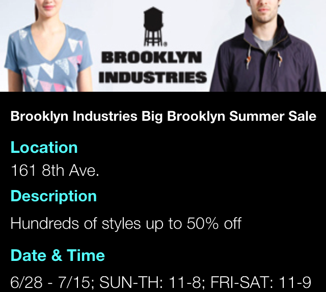 Brooklyn Industries BIG Brooklyn Summer Sale