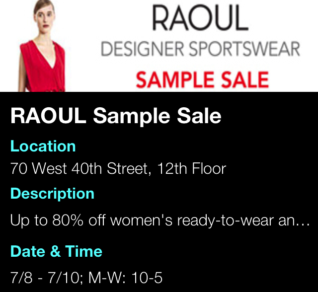 RAOUL Sample Sale