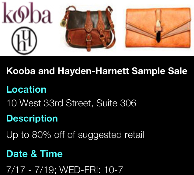 Kooba & Hayden-Harnett Sample Sale
