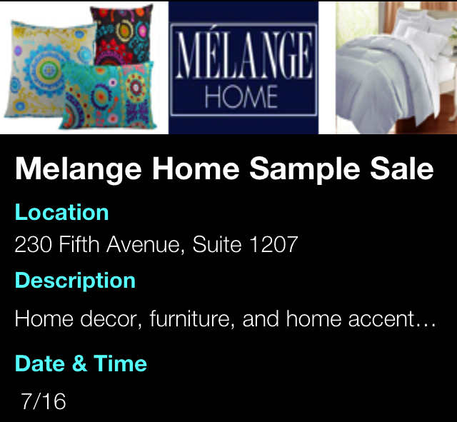 Melange Home Sample Sale