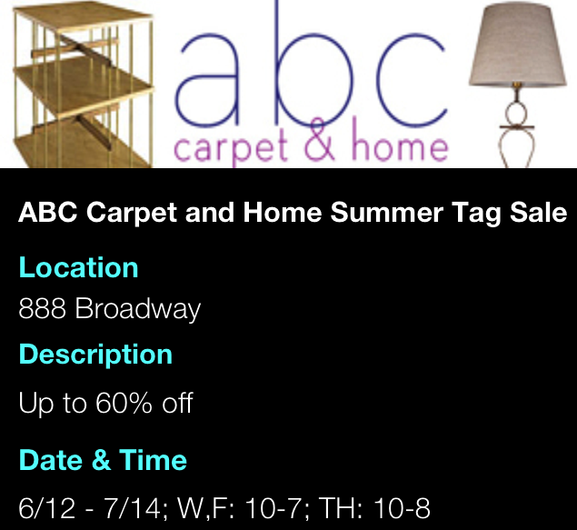 ABC Carpet & Home Summer Tag Sale