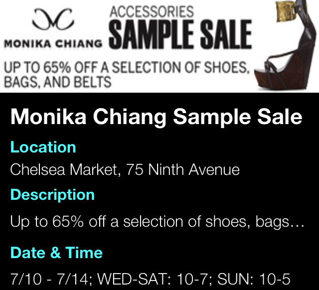 Monika Chiang Sample Sale