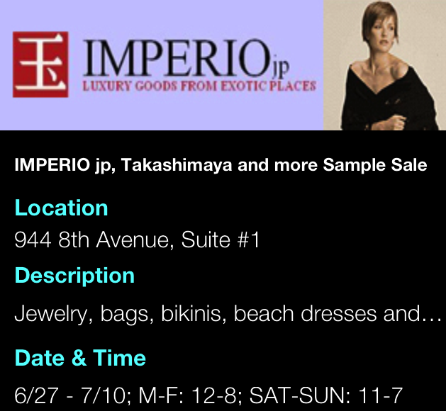 Imperio jp, Takashimaya Sample Sale