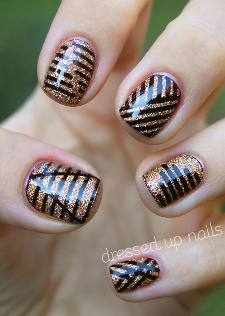 China Glaze On Safari striping tape nail art