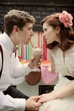 50's inspired wedding complete with milkshakes